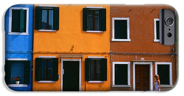 Venetian Doors iPhone Cases - Colorful Row Houses, Burano, Venice iPhone Case by Panoramic Images