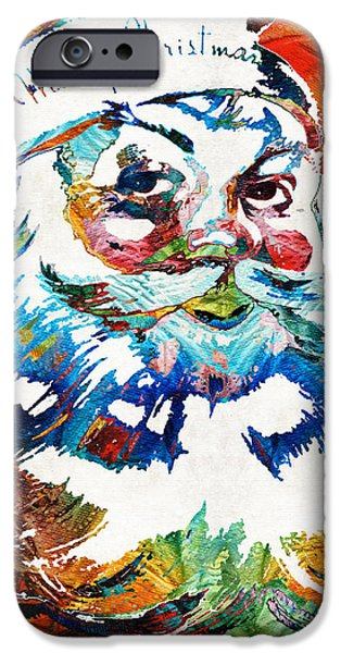 Saint Nick iPhone Cases - Colorful Santa Art by Sharon Cummings iPhone Case by Sharon Cummings