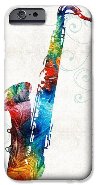 Chicago Paintings iPhone Cases - Colorful Saxophone 3 by Sharon Cummings iPhone Case by Sharon Cummings