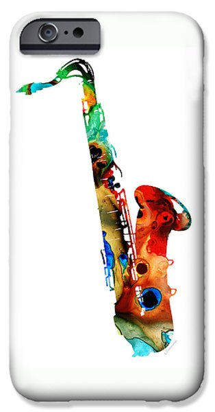 Musical iPhone Cases - Colorful Saxophone by Sharon Cummings iPhone Case by Sharon Cummings