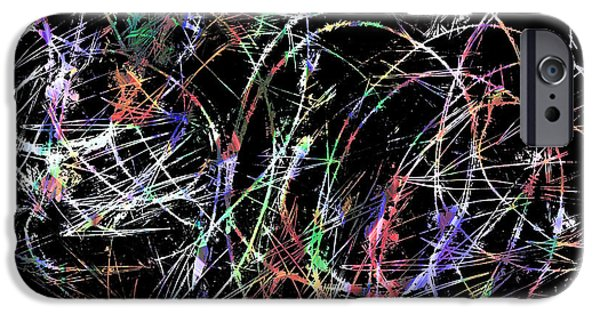 Abstract Digital Light Trails iPhone Cases - Colorful Scratch Art iPhone Case by Don Gradner