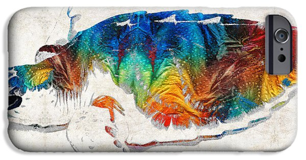 Ocean Turtle Paintings iPhone Cases - Colorful Sea Turtle By Sharon Cummings iPhone Case by Sharon Cummings