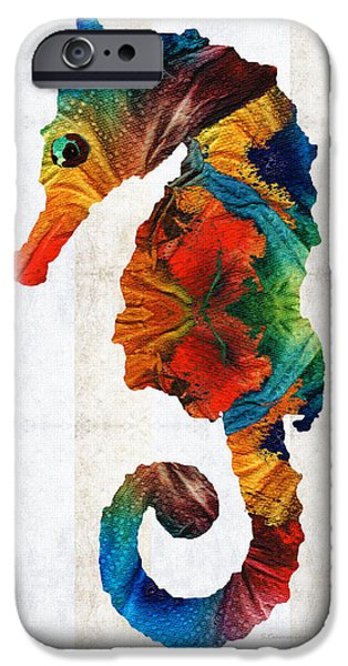Recently Sold -  - Sea iPhone Cases - Colorful Seahorse Art by Sharon Cummings iPhone Case by Sharon Cummings