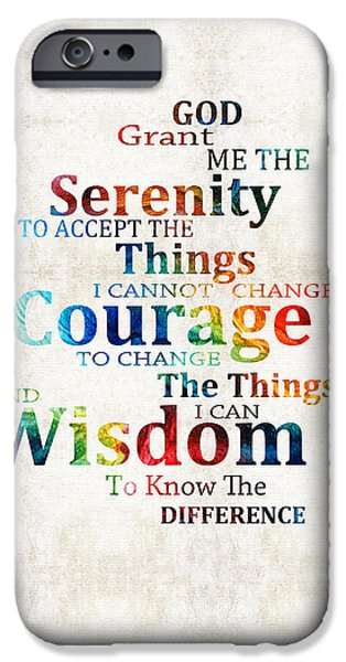 Courage iPhone Cases - Colorful Serenity Prayer by Sharon Cummings iPhone Case by Sharon Cummings