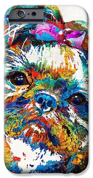 Puppy Lover iPhone Cases - Colorful Shih Tzu Dog Art by Sharon Cummings iPhone Case by Sharon Cummings