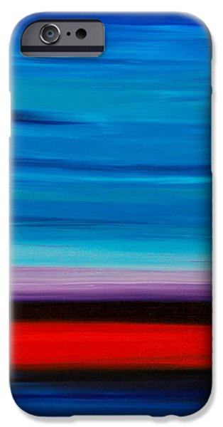 Colorful Shore - Blue And Red Abstract Painting iPhone Case by Sharon Cummings