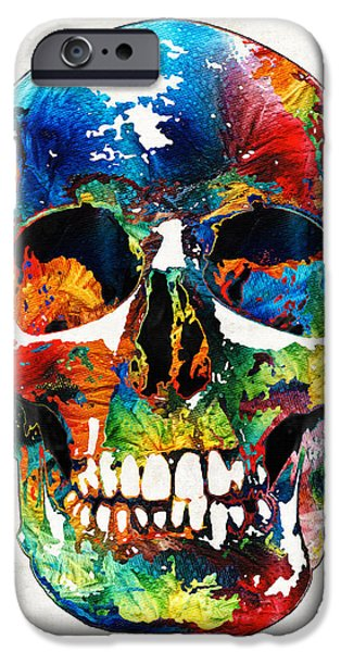 Macabre iPhone Cases - Colorful Skull Art - Aye Candy - By Sharon Cummings iPhone Case by Sharon Cummings