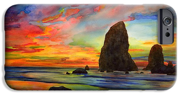 Beach Landscape Paintings iPhone Cases - Colorful Solitude iPhone Case by Hailey E Herrera