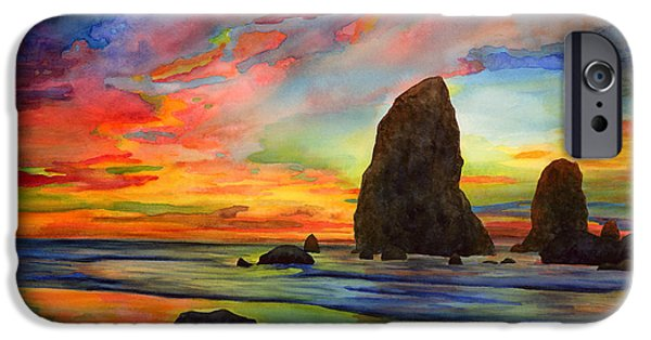 Oregon Coast iPhone Cases - Colorful Solitude iPhone Case by Hailey E Herrera