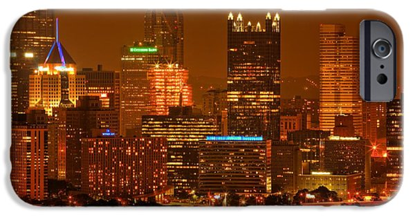 City Scape iPhone Cases - Colorful Summer Night In Pittsburgh iPhone Case by Adam Jewell