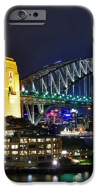 Colorful Sydney Harbour Bridge by Night iPhone Case by Kaye Menner