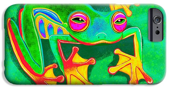 Amphibians Digital Art iPhone Cases - Colorful Tree Frog iPhone Case by Nick Gustafson