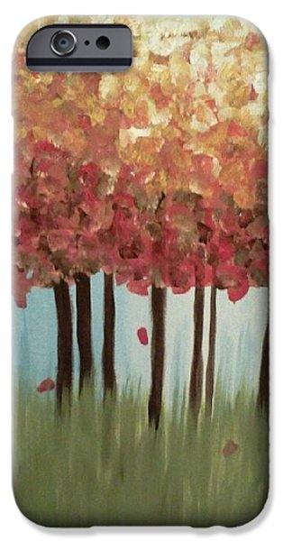 Fall Sculptures iPhone Cases - Colorful Trees iPhone Case by Lisa Collinsworth