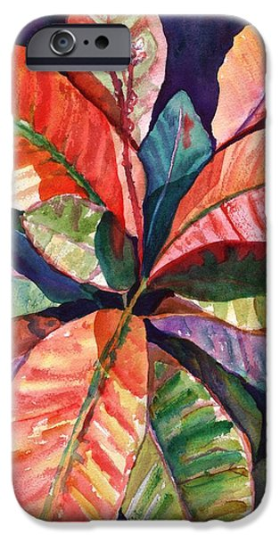 Tropical Plant iPhone Cases - Colorful Tropical Leaves 1 iPhone Case by Marionette Taboniar