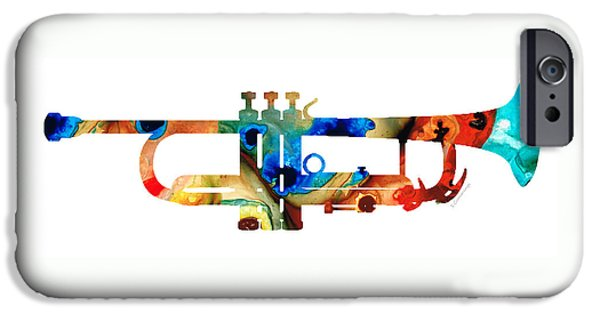 Tap iPhone Cases - Colorful Trumpet Art By Sharon Cummings iPhone Case by Sharon Cummings