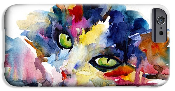 Purple Prints iPhone Cases - Colorful Tubby cat painting iPhone Case by Svetlana Novikova