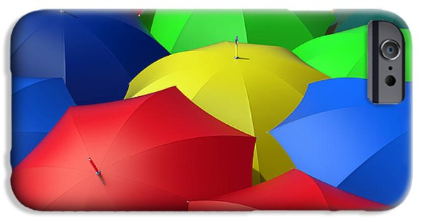 Multiple Identities iPhone Cases - Colorful Umbrellas iPhone Case by Bruno Haver