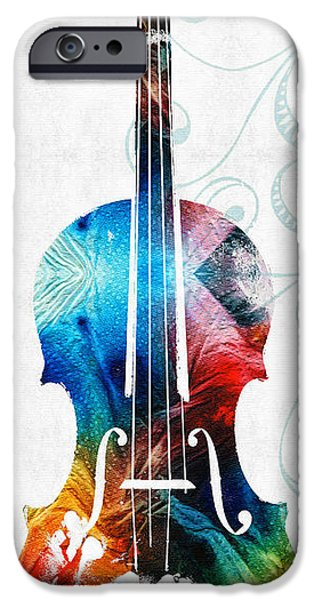 Violin iPhone Cases - Colorful Violin Art by Sharon Cummings iPhone Case by Sharon Cummings