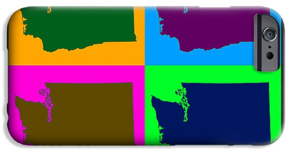 Washington Digital Art iPhone Cases - Colorful Washington State Pop Art Map iPhone Case by Keith Webber Jr