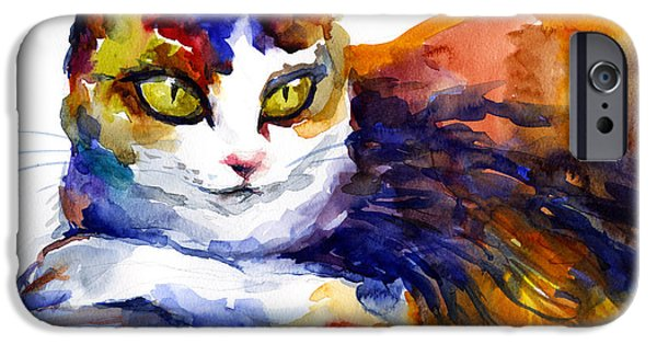 Cat Prints iPhone Cases - Colorful Watercolor Cat On A Tree Painting iPhone Case by Svetlana Novikova