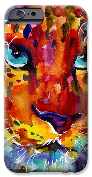Safari Prints iPhone Cases - Colorful Watercolor leopard painting iPhone Case by Svetlana Novikova