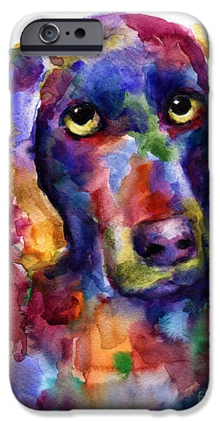 Weimaraners iPhone Cases - Colorful Weimaraner Dog art painted portrait painting iPhone Case by Svetlana Novikova