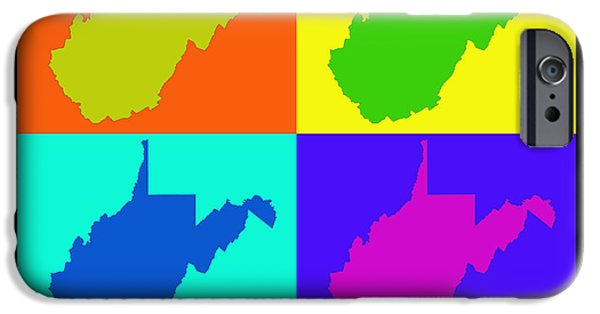 West Digital Art iPhone Cases - Colorful West Virginia Pop Art Map iPhone Case by Keith Webber Jr