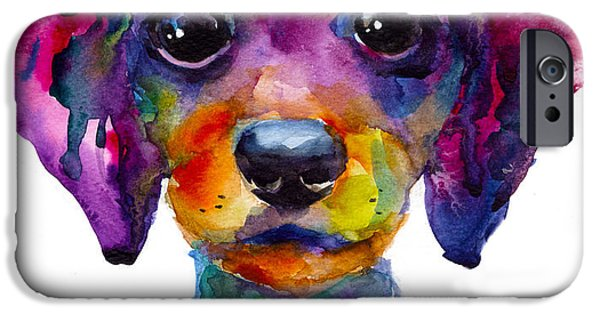Whimsical. Paintings iPhone Cases - Colorful whimsical Daschund Dog puppy art iPhone Case by Svetlana Novikova