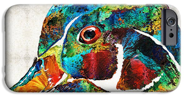 Ducks iPhone Cases - Colorful Wood Duck Art by Sharon Cummings iPhone Case by Sharon Cummings