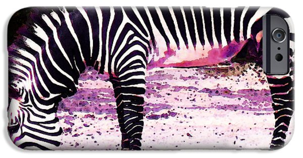 Zebra iPhone Cases - Colorful Zebra 2 - Buy Black And White Stripes Art iPhone Case by Sharon Cummings