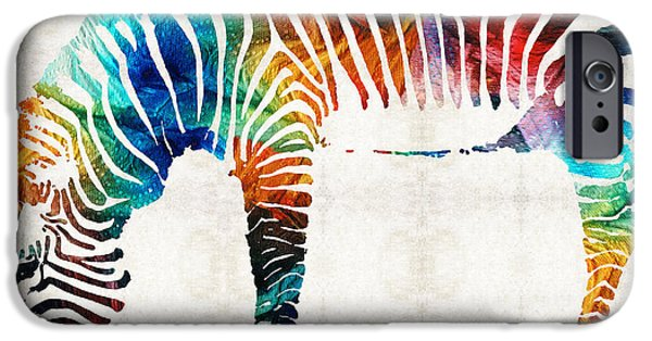 Zebra iPhone Cases - Colorful Zebra Art by Sharon Cummings iPhone Case by Sharon Cummings