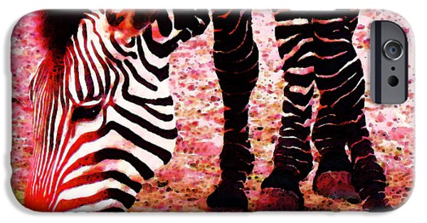 Zebra iPhone Cases - Colorful Zebra - Buy Black And White Stripes Art iPhone Case by Sharon Cummings