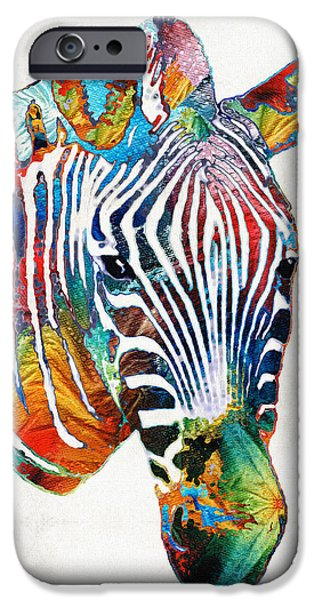 Safari Prints iPhone Cases - Colorful Zebra Face by Sharon Cummings iPhone Case by Sharon Cummings