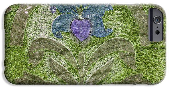 Head Stone iPhone Cases - Colorized Moss Covered Gravestone  iPhone Case by Jean Noren
