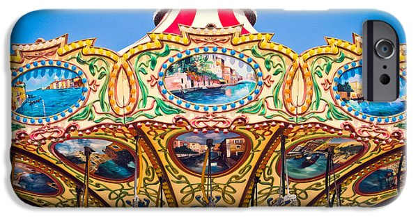Casino Pier iPhone Cases - Colors of a Carousel iPhone Case by Colleen Kammerer