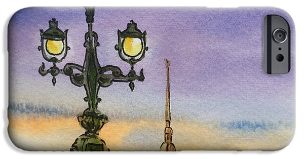 City Scape Paintings iPhone Cases - Colors Of Russia Bridge Light in Saint Petersburg iPhone Case by Irina Sztukowski