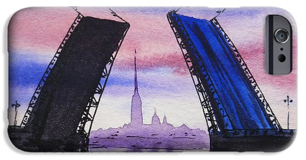 Russia Paintings iPhone Cases - Colors Of Russia Bridges of Saint Petersburg iPhone Case by Irina Sztukowski