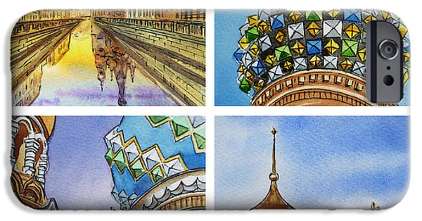 Russia Paintings iPhone Cases - Colors Of Russia Church of Our Savior on the Spilled Blood  iPhone Case by Irina Sztukowski