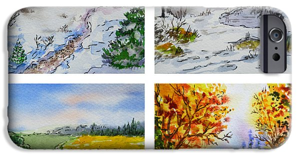 Russia Paintings iPhone Cases - Colors Of Russia Four Seasons iPhone Case by Irina Sztukowski