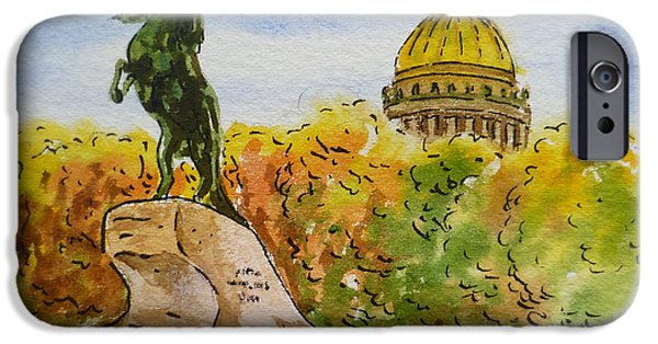 Russia Paintings iPhone Cases - Colors Of Russia Monuments of Saint Petersburg iPhone Case by Irina Sztukowski