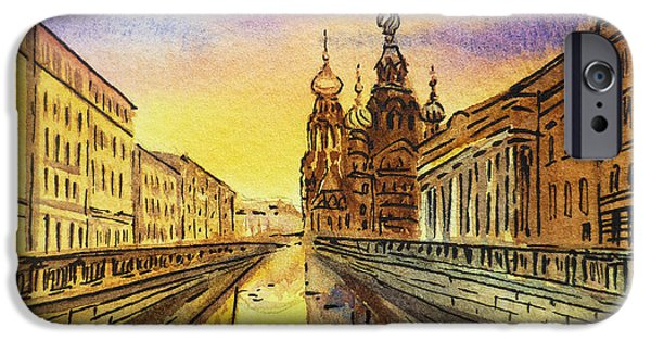 City Scape Paintings iPhone Cases - Colors Of Russia St Petersburg Cathedral I iPhone Case by Irina Sztukowski