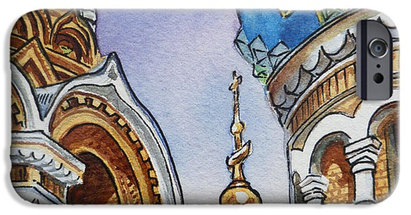 Russia Paintings iPhone Cases - Colors Of Russia St Petersburg Cathedral II iPhone Case by Irina Sztukowski