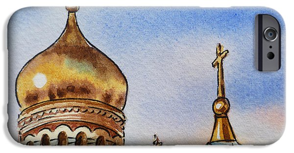 Russia Paintings iPhone Cases - Colors Of Russia St Petersburg Cathedral IV iPhone Case by Irina Sztukowski