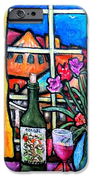 """indoor"" Still Life Paintings iPhone Cases - Colosi wine with flowers iPhone Case by Chaline Ouellet"