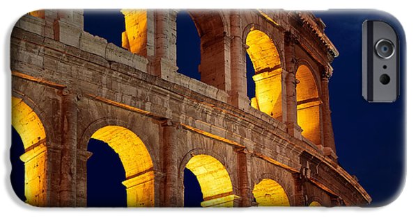 Picturesque iPhone Cases - Colosseum and moon iPhone Case by Inge Johnsson