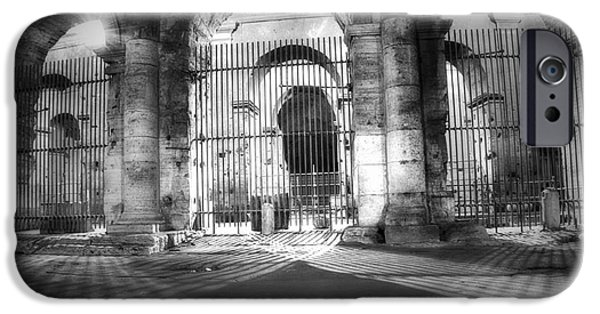 Built Structure iPhone Cases - Colosseum Lights - monocrome iPhone Case by Stefano Senise