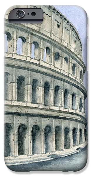 Ruin Paintings iPhone Cases - Colosseum iPhone Case by Marsha Elliott