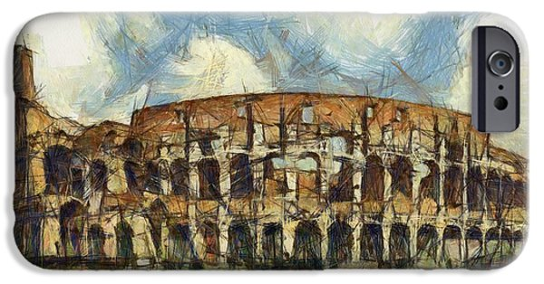 Historic Site Drawings iPhone Cases - Colosseum pencil iPhone Case by Sophie McAulay