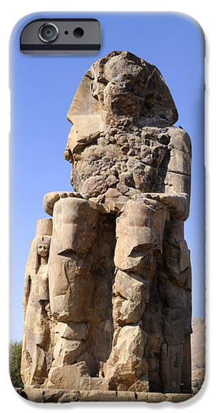 Hathor iPhone Cases - Colossus of Memnon Egypt iPhone Case by Brenda Kean
