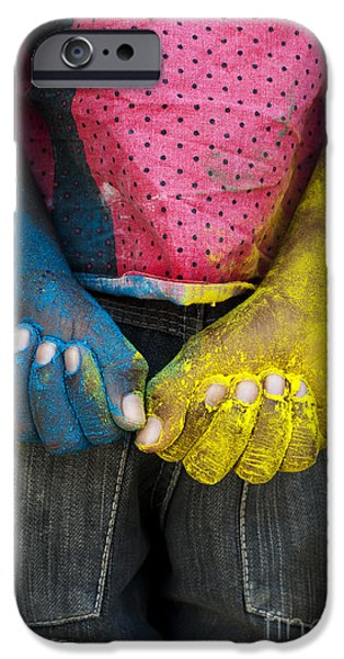Coloured Hands iPhone Case by Tim Gainey